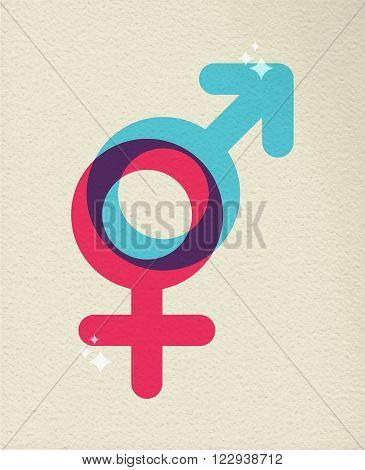 Gender icon concept illustration of people sex boy and girl symbol in colorful style over texture background. EPS10 vector.