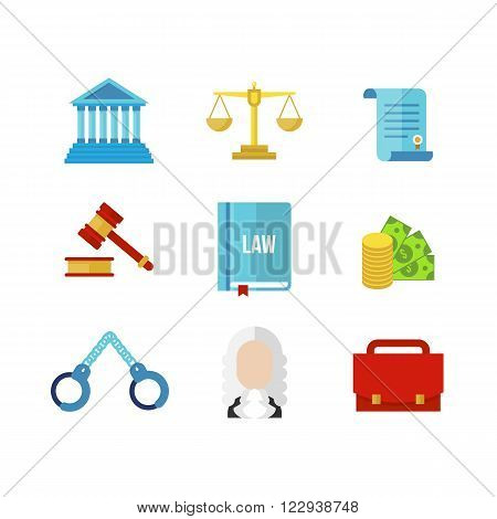 Tribunal law icon set. Tribunal vector illustration. Judge flat icon. Law icons.  Law books,  court,  law icon,  scales of justice,  gavel isolated on white background.