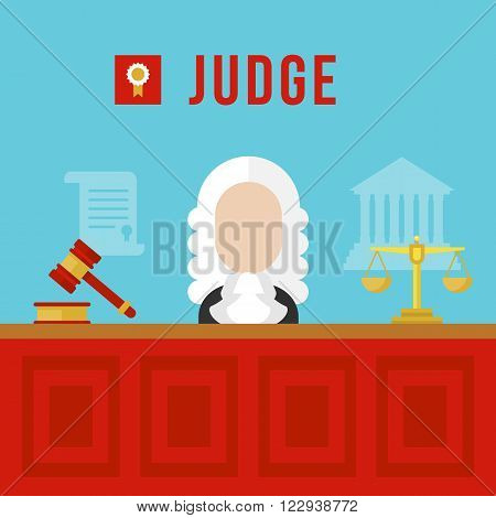 Judge vector illustration. Judge man in courtroom. Judge with hammer, tribunal and gavel. Judge flat. Judge bright banner,