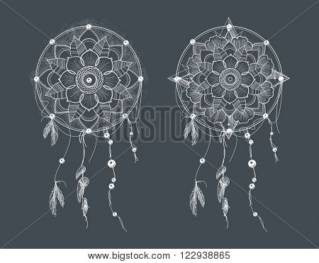 Dream Catcher. Ornament Round Mandalas Tattoo. Geometric Circle Element Made in Vector. Perfect for any other kind of design, tattoo, birthday, kaleidoscope, medallion, yoga, india, arabic