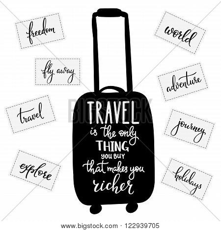 Travel inspiration quotes lettering. Travel only thing you can buy that makes you richer. Motivational quote typography Calligraphy graphic design element Hand written calligraphy style signs stickers