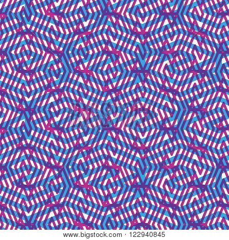 Geometric seamless pattern colorful vector endless background. Decorative net splicing motif texture.