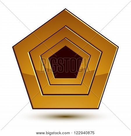 3d vector classic royal symbol sophisticated golden round emblem with stars isolated on white background glossy element.