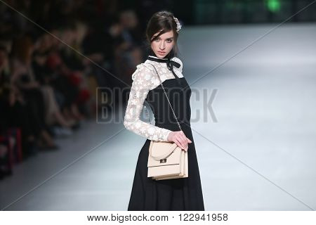 ZAGREB, CROATIA- MARCH 15: Fashion model wearing clothes designed by eNVy ROOM on the Bipa Fashion.hr fashion show on March 15,2016 in Zagreb, Croatia