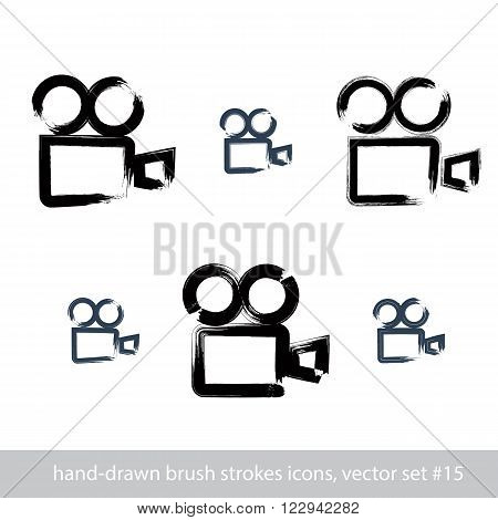 Set of realistic ink hand-drawn vector video camera icons collection of simple hand-painted camera symbols isolated on white background.