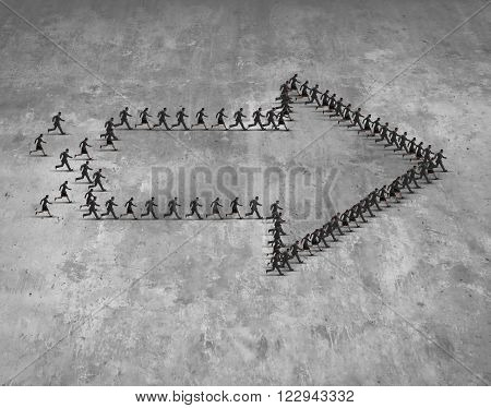 Business group direction concept as a team of running businessmen and businesswomen shaped as an arrow moving forward towards a common destination goal. poster