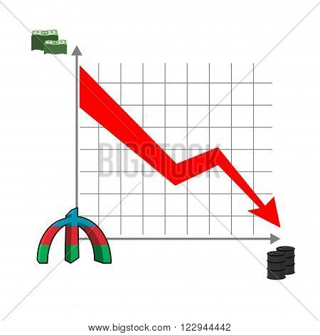 Azerbaijani Manat Money Falls. Falling Of Rate Of Manat. Red Down Arrow. Reducing Cost Of Oil. Sched