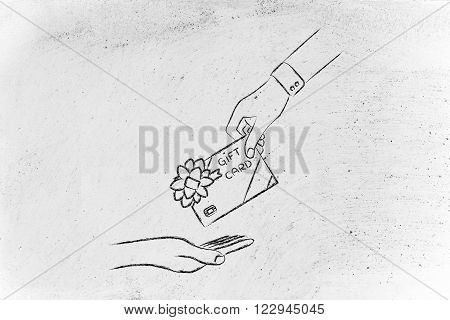 Hand Giving A Gift Card With Wrapping Bow