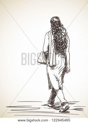 Sketch of walking woman in salwar kameez, Hand drawn illustration