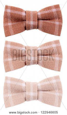 Brown beige plaid hair bow tie three shades