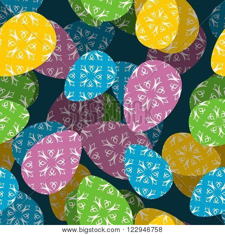 Easter 3D Seamless Pattern. 3D Easter Egg Background. Texture For Easter Holiday. Many Easter Eggs.