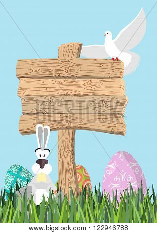 Happy Easter. Green Grass. Colorful Easter Eggs. Traditional Treats For Easter. Wooden Plaque. Woode