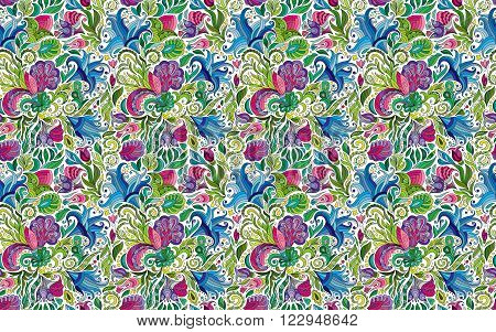 Abstract seamless ornamental pattern. Indian hand drawing background. Vector stock illustration. Doodle.