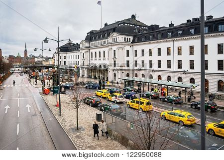 STOCKHOLM SWEDEN 07 march: View of the street Vasagatan and the central square in front of the railway station of the city of Stockholm in the Norrmalm district of 7 march 2016.