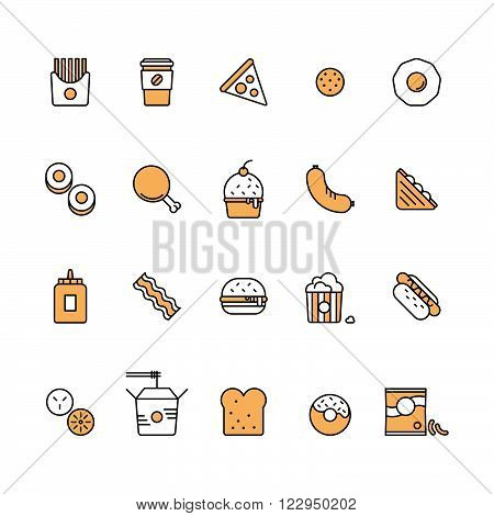 Modern vector isolated illustration fast food icons set. Tasty food meals confection. Line style vector