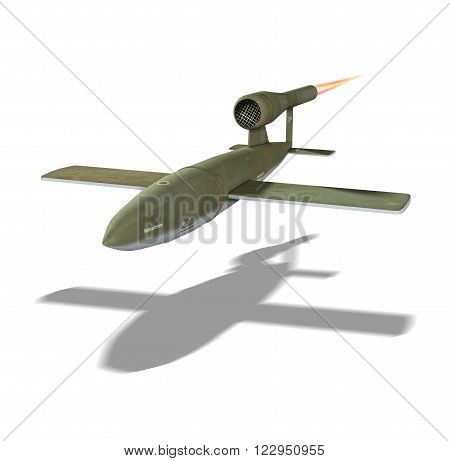 3D illustration of a German V1 rocket from World War 2.