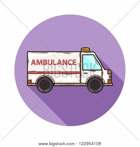 Ambulance icon.Vector Ambulance icon isolated with shadow.Hand draw Ambulance icon vector.Medical Ambulance icon.aA vehicle specially equipped for taking sick people to the hospital, emergencies.