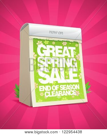 Great spring sale poster in form of tear-off calendar, rasterized version.