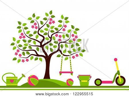 vector seamless border with flowering tree with swing and toys isolated on white background