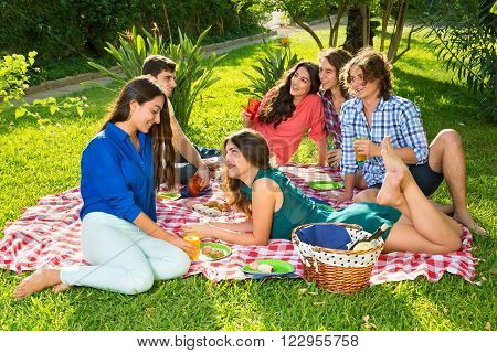 Group of smiling friends having picnic on a red and white checkered blanket near basket under a bright sun