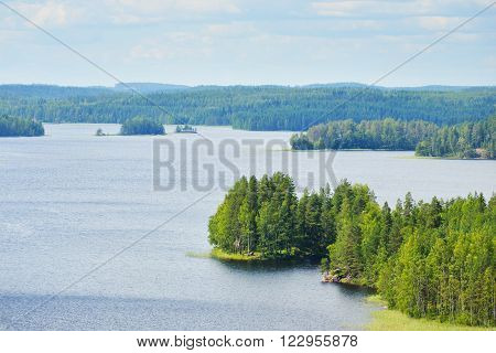 Landscape of Saimaa lake from above in Finland poster