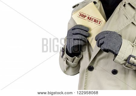 Spy showing top secret documents, over a white background.