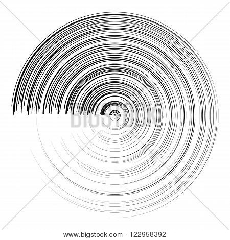 Abstract black round circle brush stroke. Vector Illustration for modern design. Line stripe in circle form. Movement halftone wallpaper on white background. Curl concept visual symbol. Stroke element