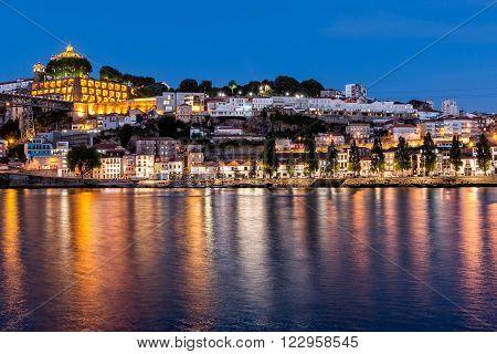 Porto Portugal The historic centre of Porto at night