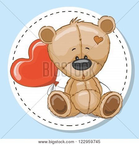 Drawing Teddy bear with a red balloon