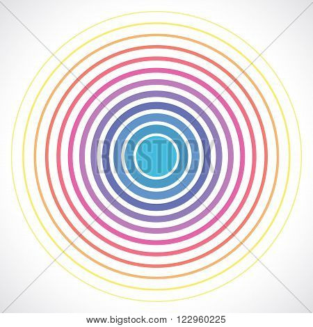 Concentric circle elements. Vector illustration for sound wave. Different color ring. Circle spin target. Radio station signal. Center minimal radial ripple line outline abstractionism