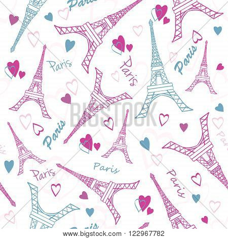 Vector Eifel Tower Paris Love Pink Grey Drawing Seamless Pattern with romantic hearts. Perfect for t