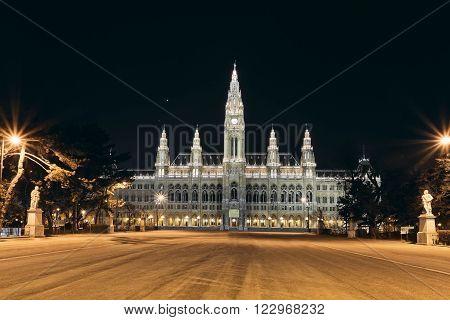 Vienna's Town Hall (Rathaus) at nightime.Vienna. Austria.