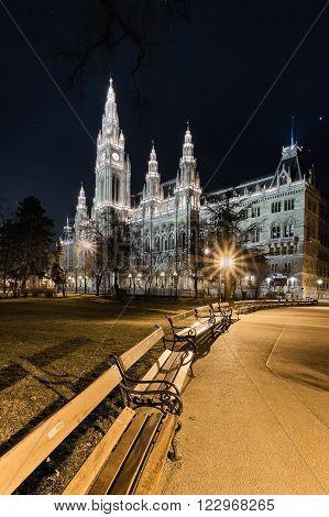 Vienna s Town Hall (Rathaus) at nightime.Vienna. Austria.