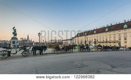Vienna, Austria- 17 March, 2012: Heldenplatz. Heroes Square. Pleasure carriage horses