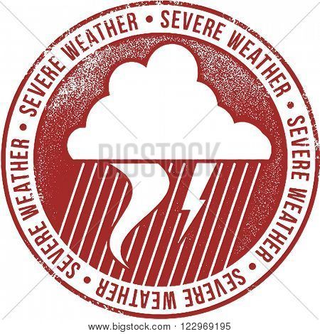 Severe Weather Alert Icon Stamp