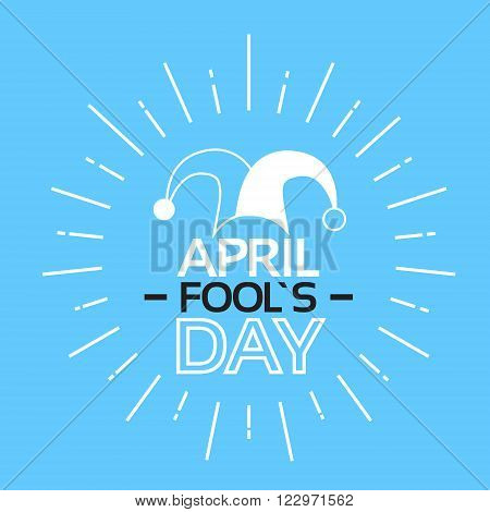Jester Fool Day April Holiday Greeting Card Banner Thin Line Vector Illustration