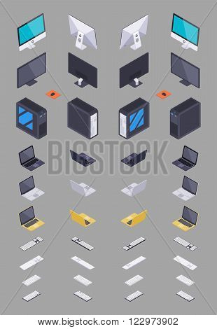 Collection of the isometric electronic hardware. The objects are isolated against the grey background and shown from different sides
