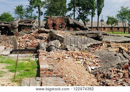 Auschwitz II - Birkenau Crematorium II ruins with the collapsed roof of the disrobing chamber in the foreground and the oven area and chimney wing in the background