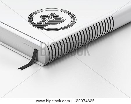 Political concept: closed book, Uprising on white background