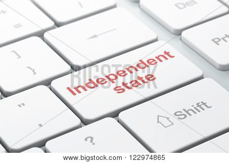 Politics concept: Independent State on computer keyboard background