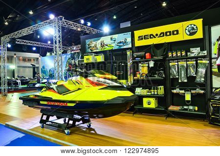 NONTHABURI - MARCH 22: Sea Doo Jet Ski on display at The 37th Bangkok International Thailand Motor Show 2016 on March 22, 2016 Nonthaburi, Thailand.