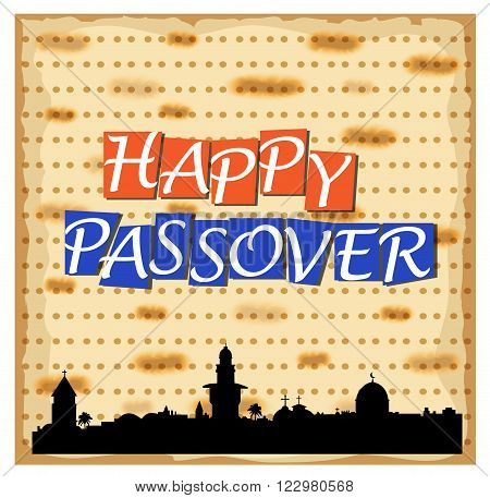 Vector illustration for Happy Passover with Jerusalem