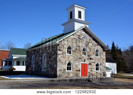 FRELIGHSBURG QUEBEC CANADA MARCH 20 2016: The Olivet Baptist Church of Sutton Quebec, Knowlton, Canada