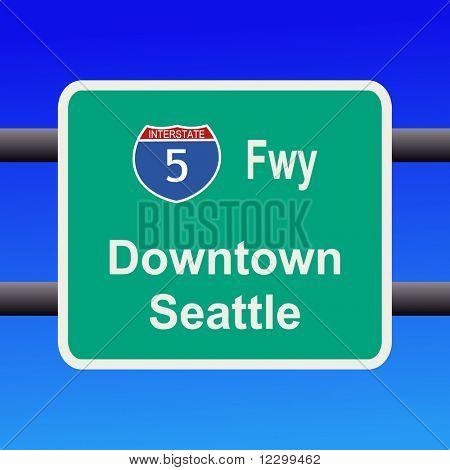 Interstate 5 to Seattle sign illustration