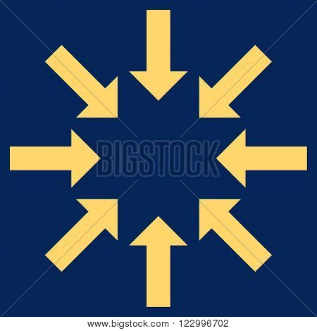 Collapse Arrows vector icon symbol. Image style is flat collapse arrows icon symbol drawn with yellow color on a blue background.