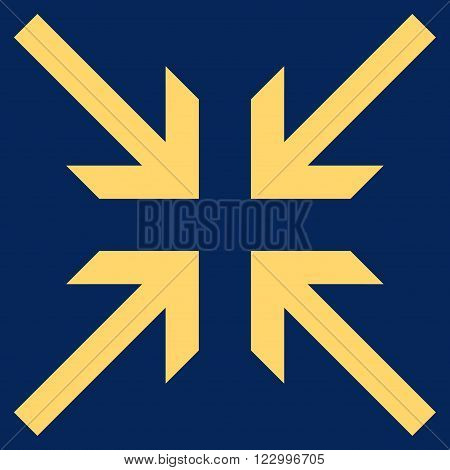 Collide Arrows vector icon. Image style is flat collide arrows pictogram symbol drawn with yellow color on a blue background.