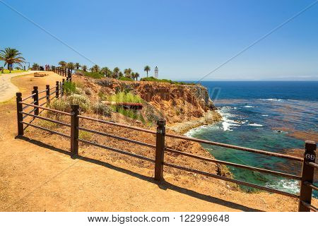 Views of the California coast and Point Vicente Lighthouse, Los Angeles, California