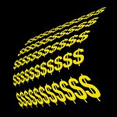 Rows of yellow dollar signs on black poster