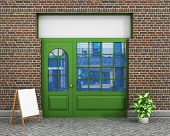 Shop Front. Exterior horizontal windows empty for your store product presentation or design. poster
