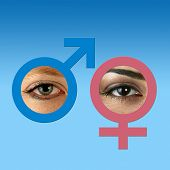 Male and female eyes inside matching graphic symbols on grad blue background. poster